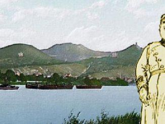 Soldat mit Pickelhaube am Rhein