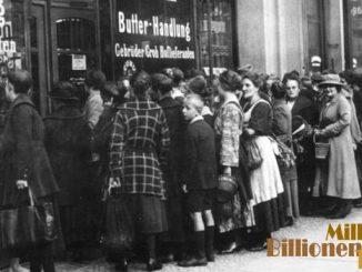 Schlange vor einem Lebensmittelgeschäft, Berlin 1923