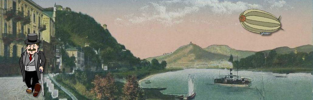 200 Jahre Rheinprovinz, Blick von Rolandseck auf den Rhein und das Siebengebirge