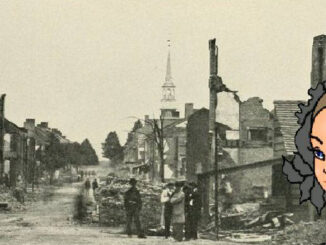 Zerstörte Häuser in Chambersburg, 1864
